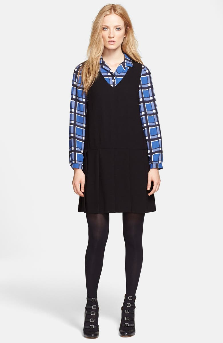 MARC BY MARC JACOBS 'Yumi' Pleated Crepe Dress, Main, color, 001