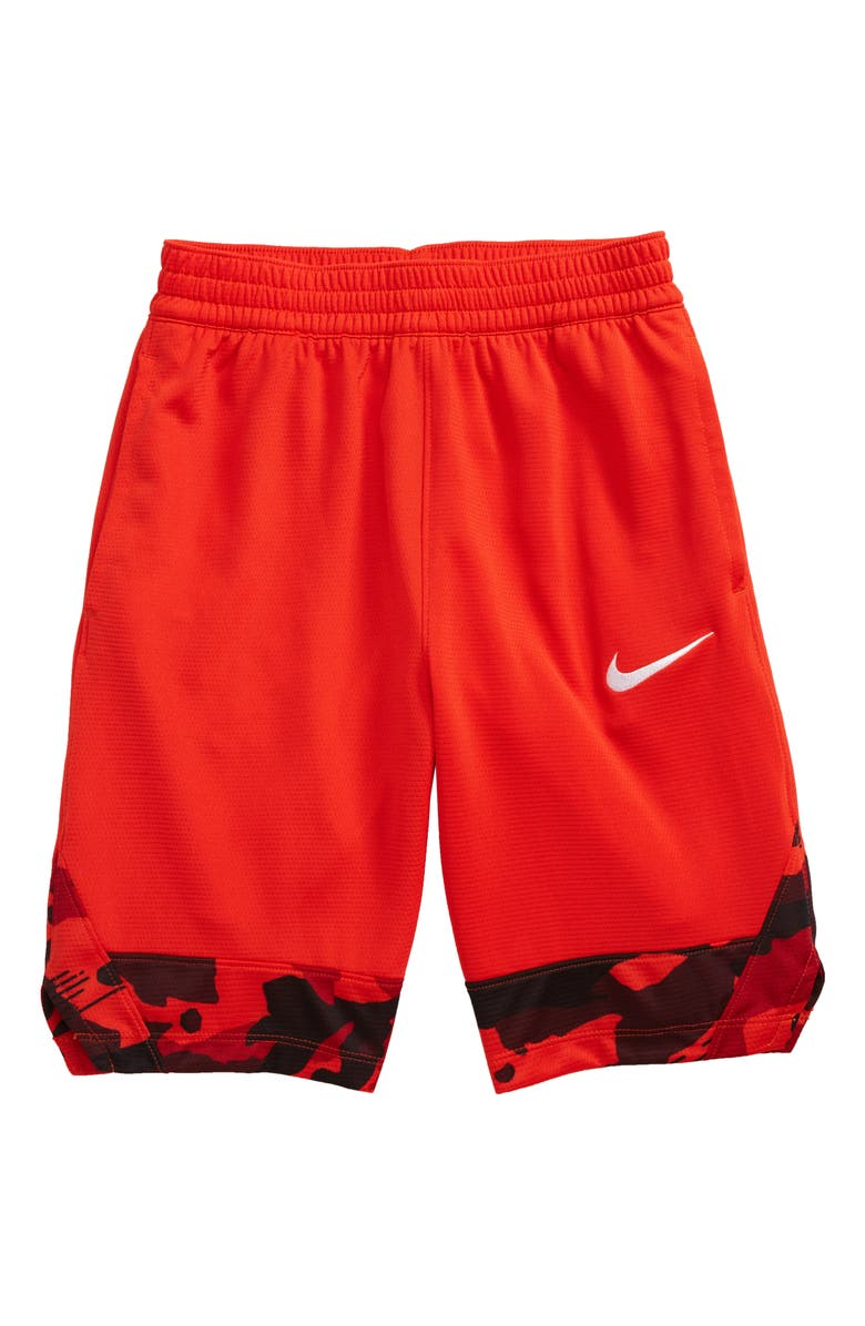 NIKE Icon Basketball Shorts, Main, color, HABANERO RED / WHITE