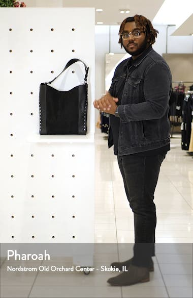 Hula Studded Faux Leather Hobo Bag, sales video thumbnail