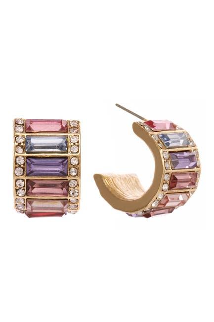 Image of Christian Siriano New York Multi Colored Baguette Stones Huggie Hoop Earrings