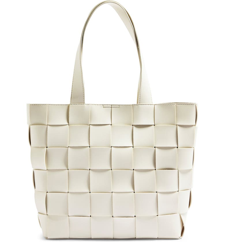 TOPSHOP Basket Weave Faux Leather Tote, Main, color, STONE