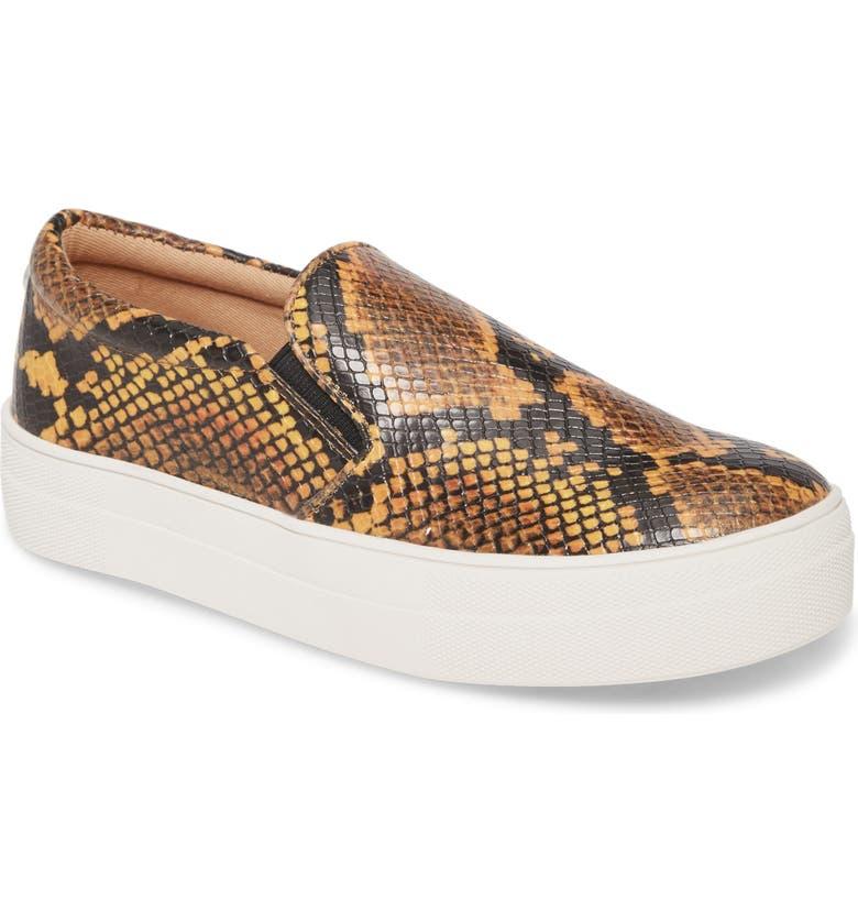 STEVE MADDEN Gills Platform Slip-On Sneaker, Main, color, YELLOW SNAKE PRINT