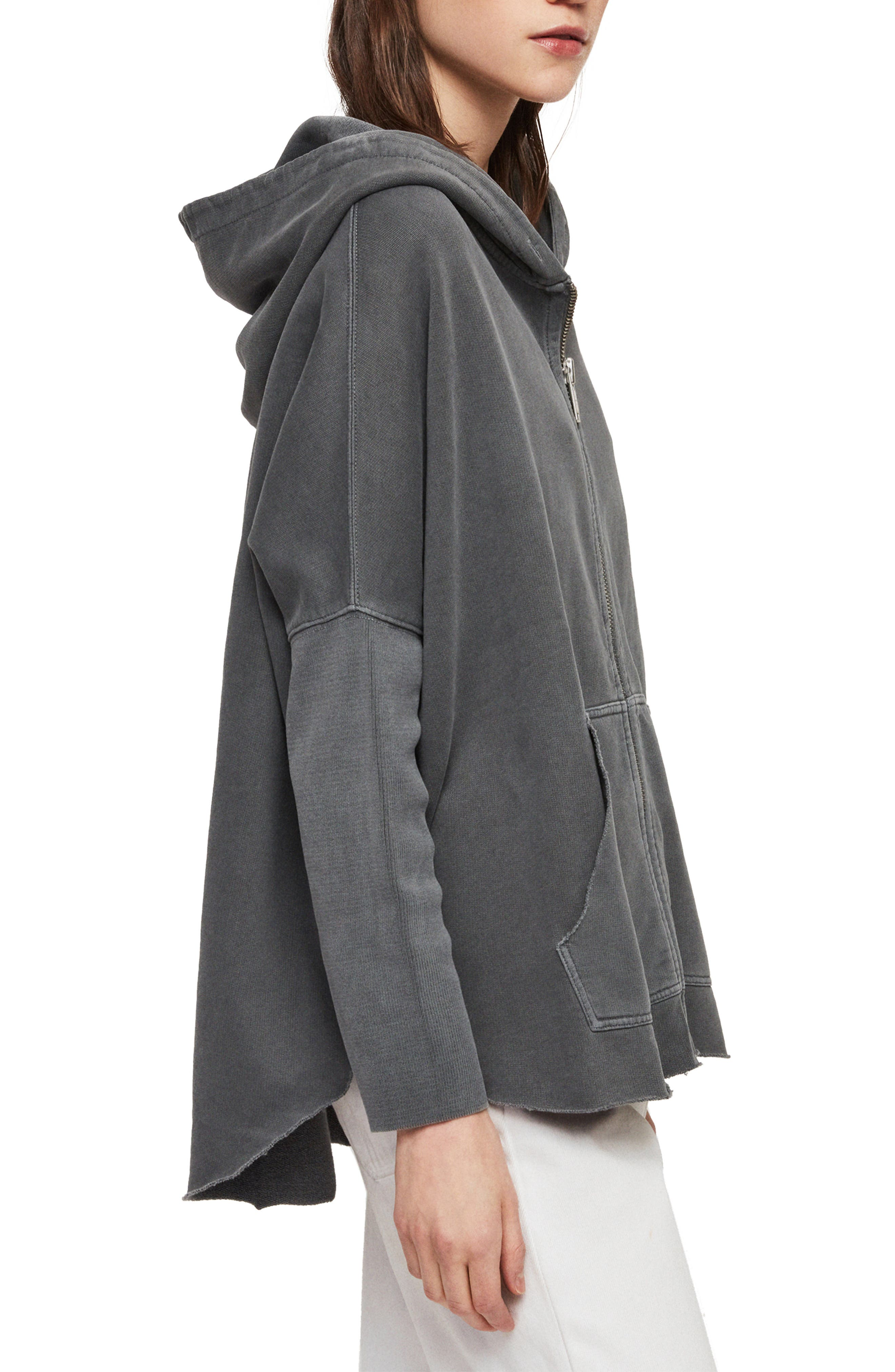 ,                             Xonda Zip Hooded Sweatshirt,                             Alternate thumbnail 3, color,                             WASHED BLACK