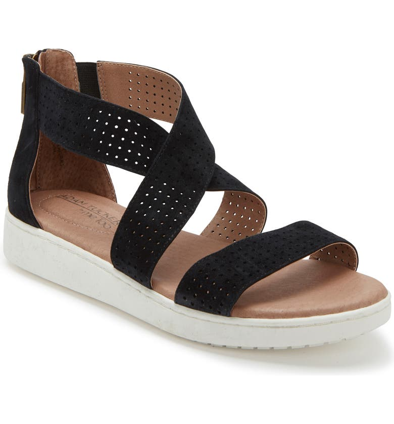 ADAM TUCKER BY ME TOO Adam Tucker Rayna Perforated Wedge Sandal, Main, color, BLACK SUEDE