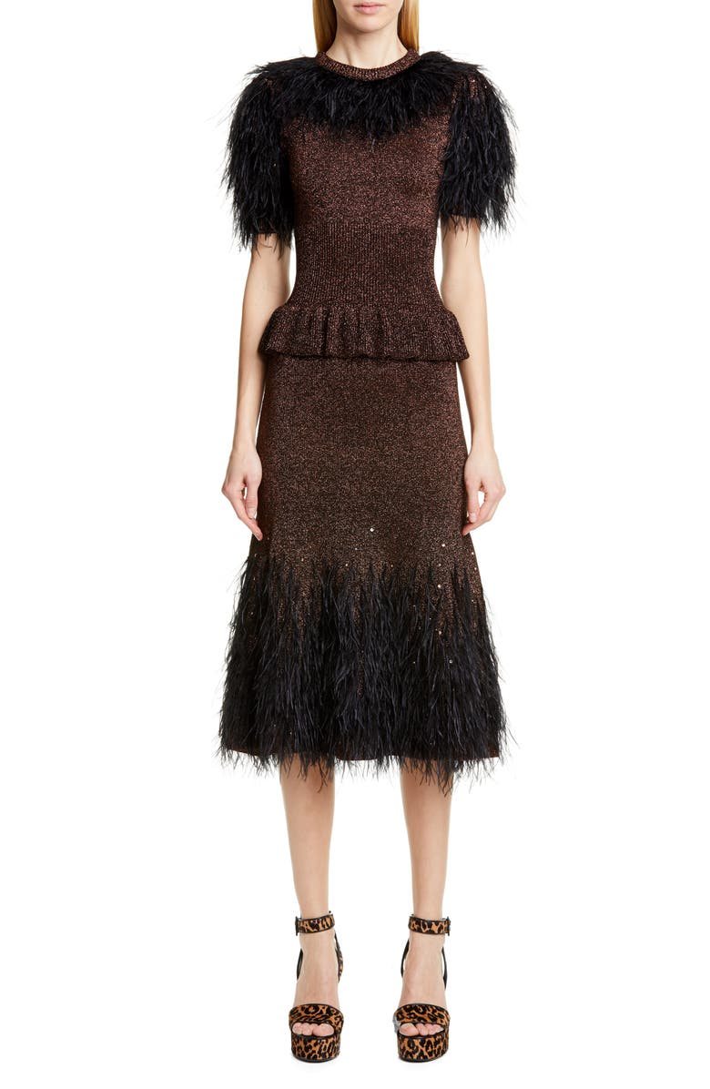 MICHAEL KORS COLLECTION Feather Embellished Metallic Peplum Sweater Dress, Main, color, BLACK/ COPPER