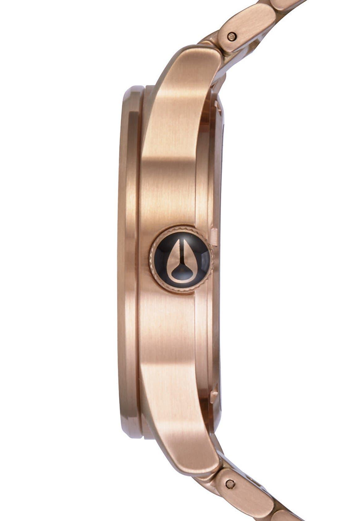 ,                             'The Sentry' Bracelet Watch, 42mm,                             Alternate thumbnail 3, color,                             ROSE GOLD/ BLACK