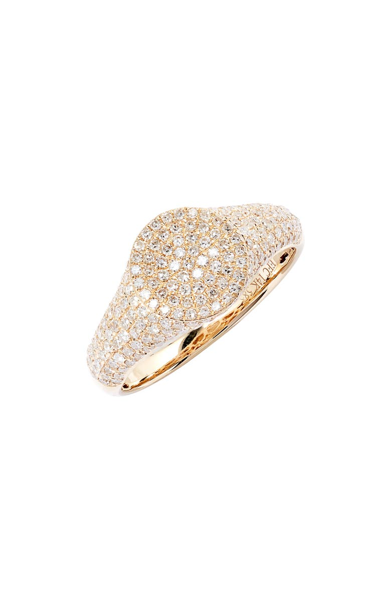 EF COLLECTION Diamond Signet Pinky Ring, Main, color, YELLOW GOLD/ DIAMOND