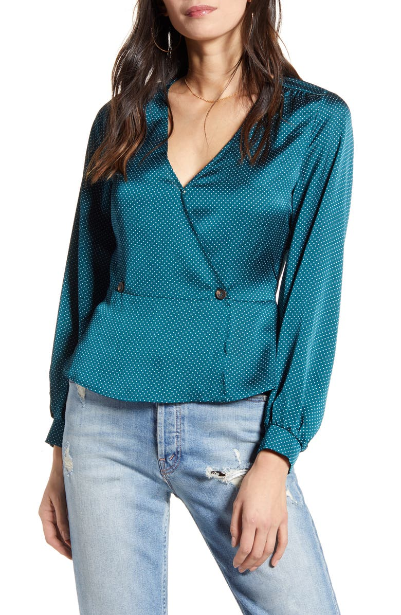 ALL IN FAVOR Satin Button Peplum Top, Main, color, TEAL/ WHITE