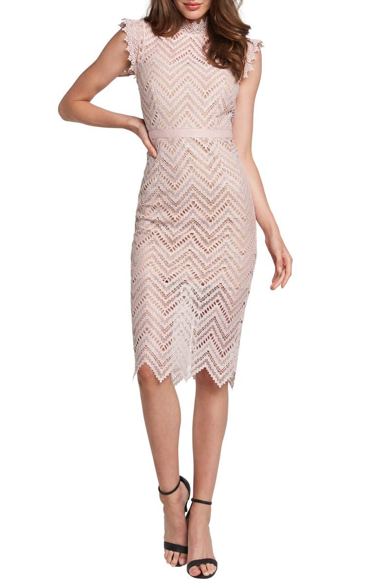 BARDOT Imogen Lace Body-Con Dress, Main, color, SOFT PINK