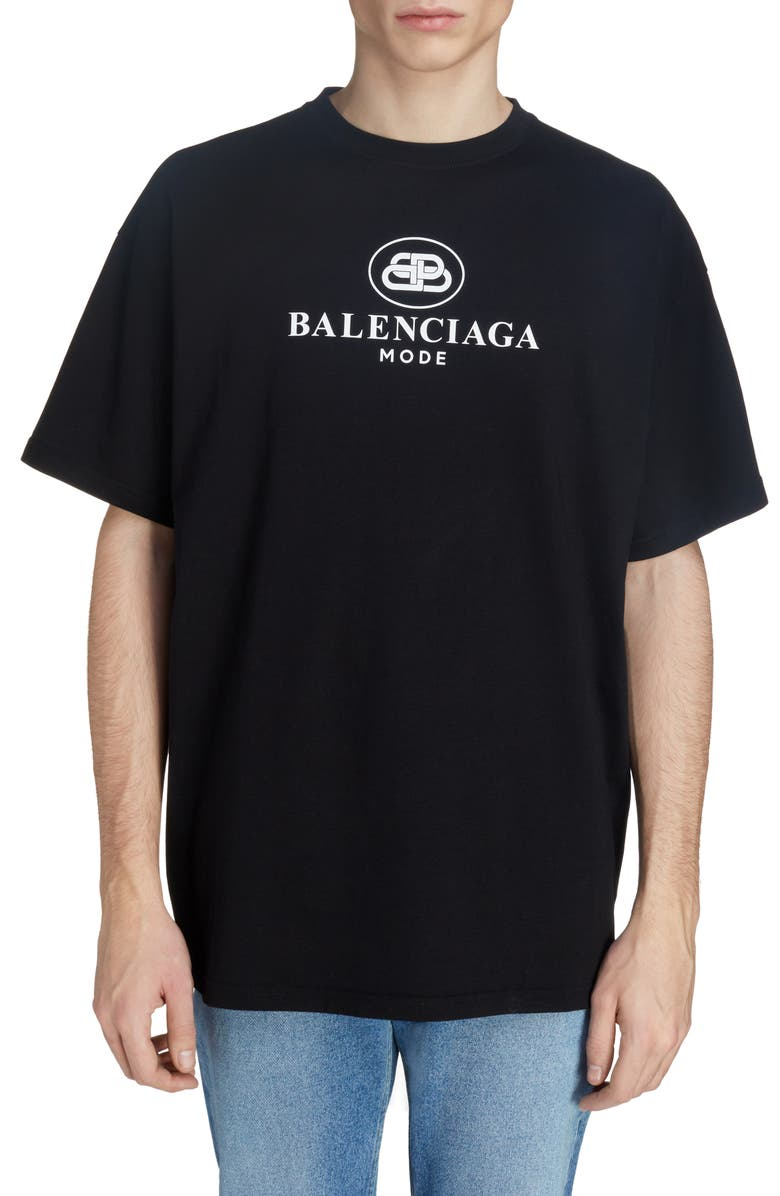 BALENCIAGA New BB Mode T-Shirt, Main, color, BLACK