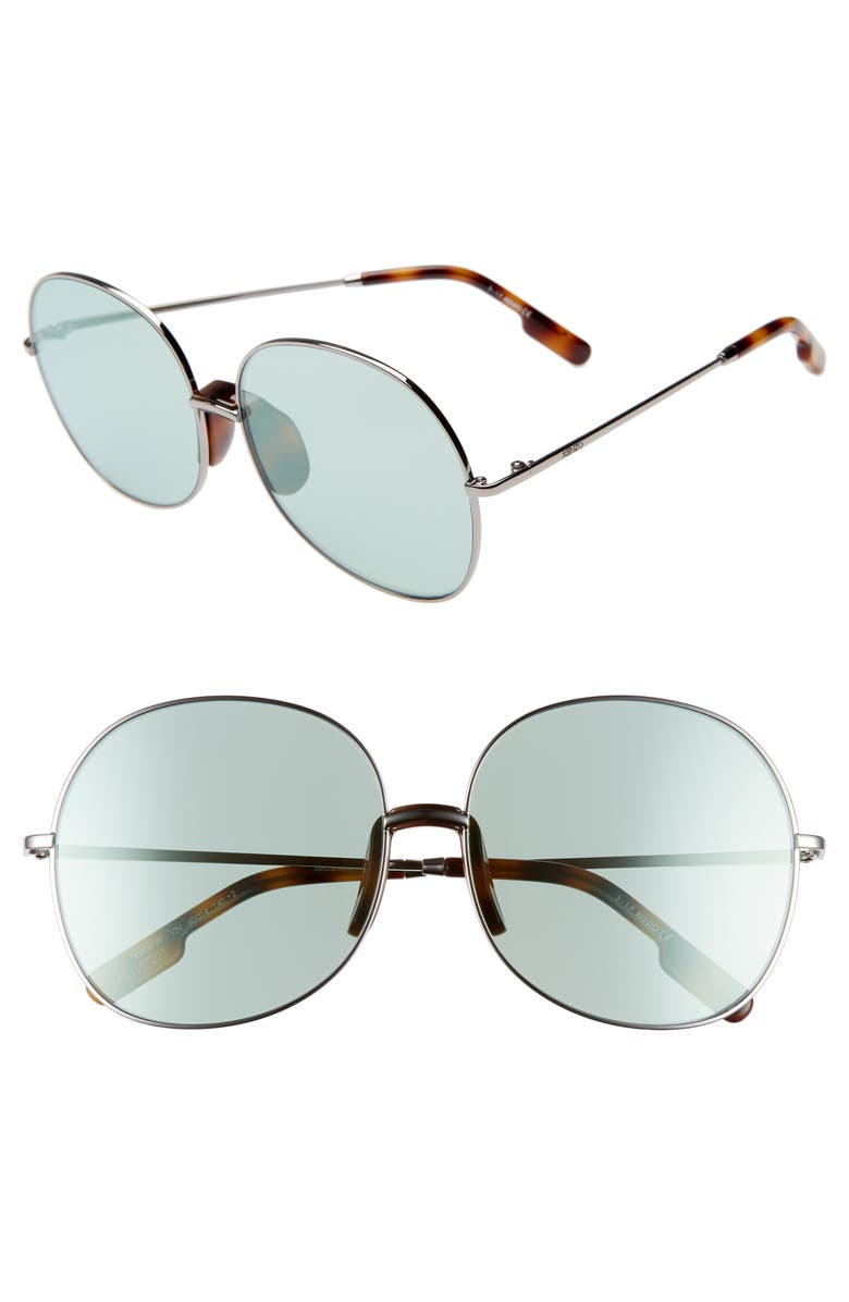 KENZO 60mm International Fit Round Sunglasses, Main, color, SHINY DK RUTHENIUM/BLUE GREEN