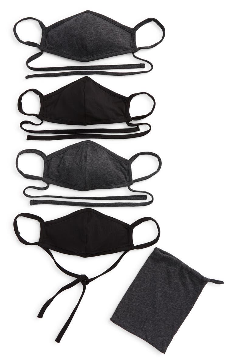 NORDSTROM 4-Pack Adult Face Masks, Main, color, GREY COMBO