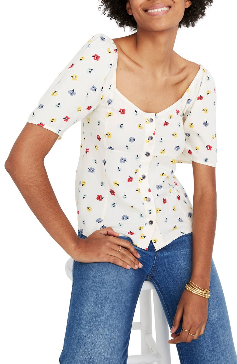 MADEWELL Confetti Floral Embroidered Button Front Shirt, Main, color, 900