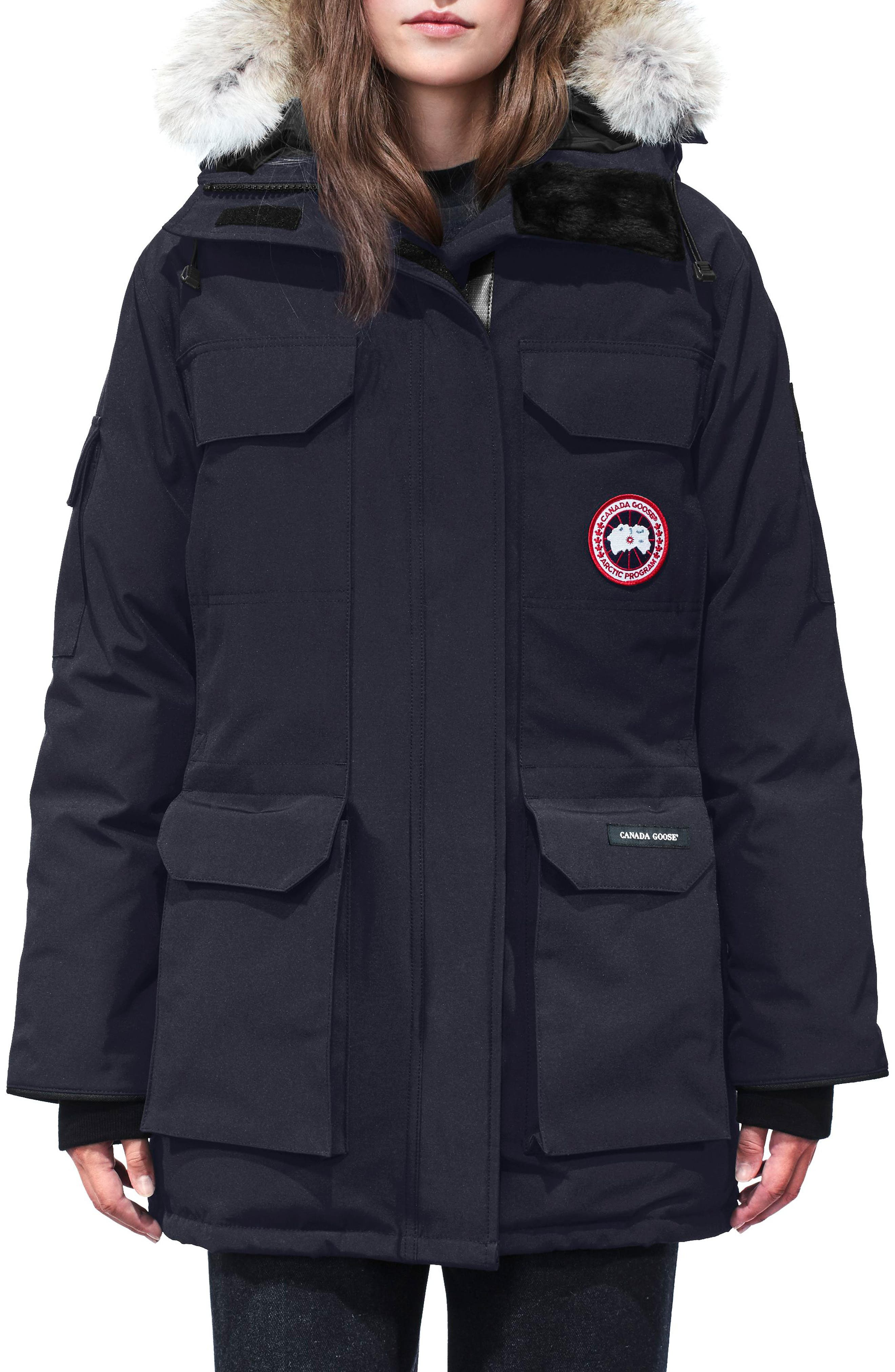 Canada Goose Expedition Hooded Down Parka With Genuine Coyote Fur Trim, Blue