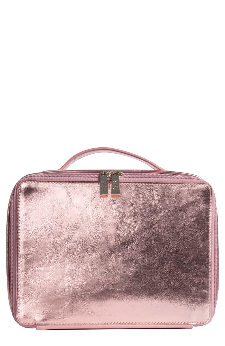 BÉIS Travel Cosmetics Case, Main, color, PINK SPARKLE