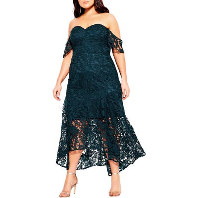 Plus Size City Chic Lace Off The Shoulder High/low Mermaid Gown, Green