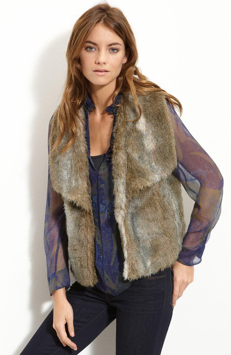JOIE Exaggerated Collar Faux Fur Vest, Main, color, 250