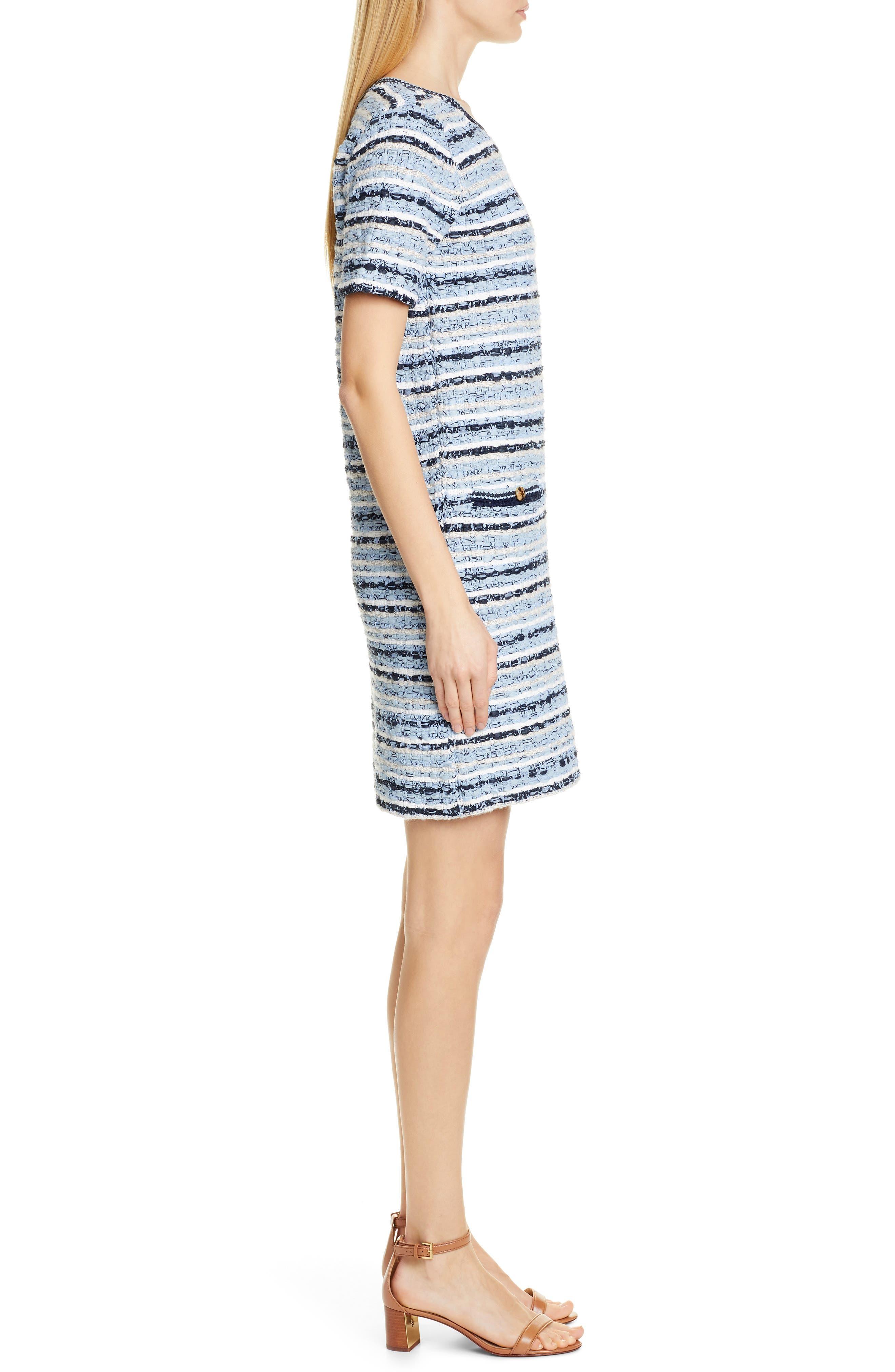 ,                             Tweed Shift Dress,                             Alternate thumbnail 4, color,                             BLUE MULTI TWEED