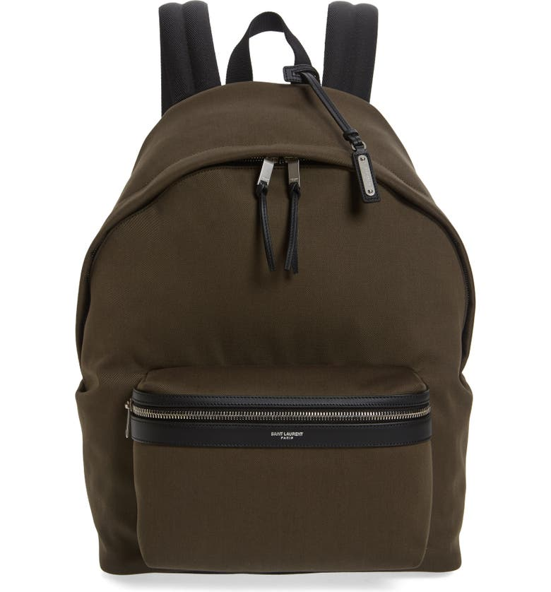 SAINT LAURENT City Canvas Backpack, Main, color, BROWN