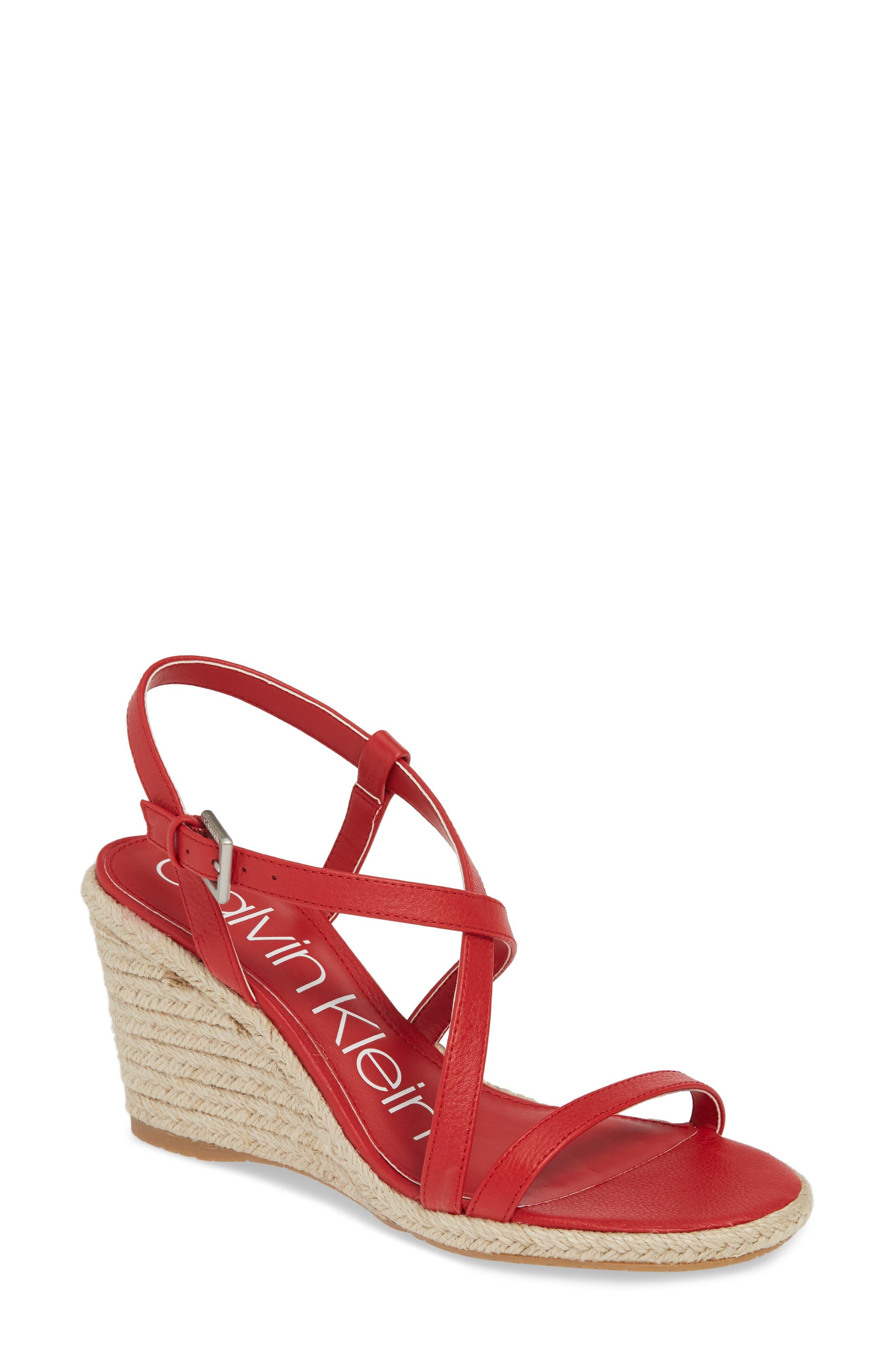 Calvin Klein Bellemine Espadrille Wedge Sandal, Red