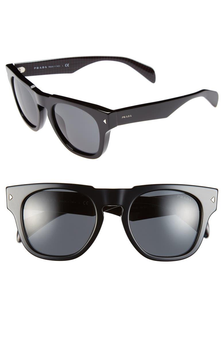 PRADA 52mm Retro Sunglasses, Main, color, 001