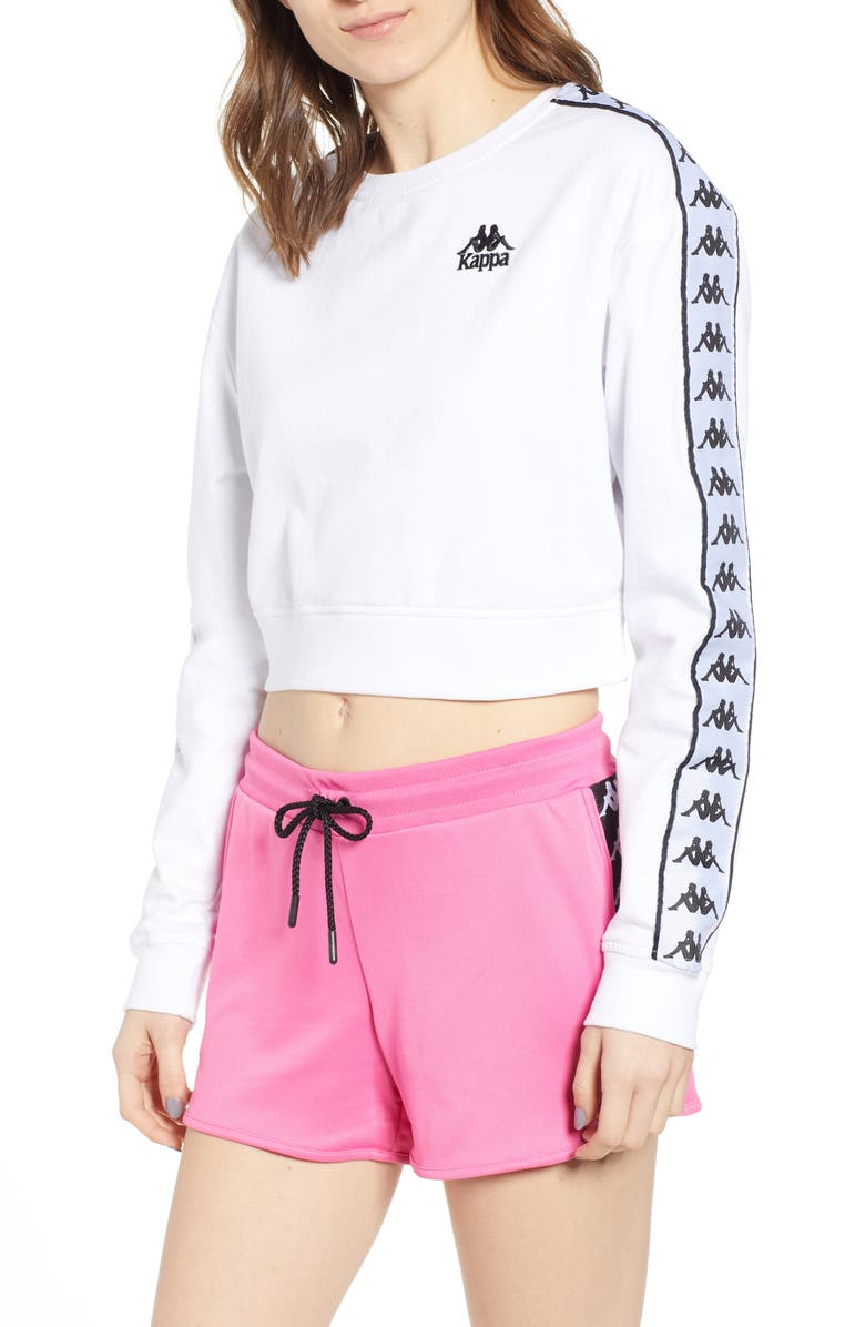 KAPPA Authentic Logo Tape Crop Sweatshirt, Main, color, 100