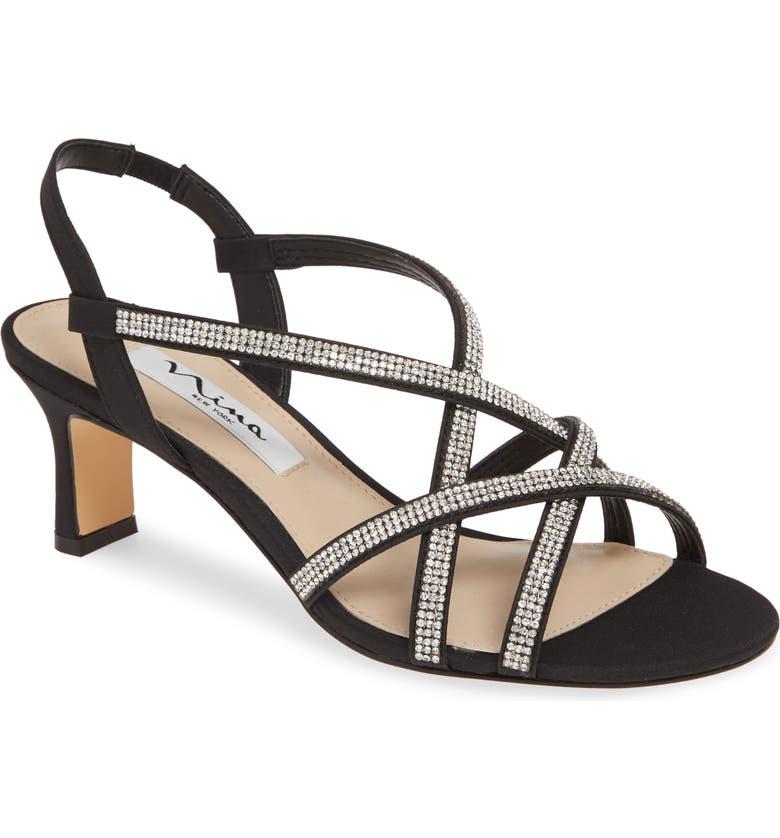 NINA Noni Crystal Embellished Slingback Sandal, Main, color, BLACK FABRIC