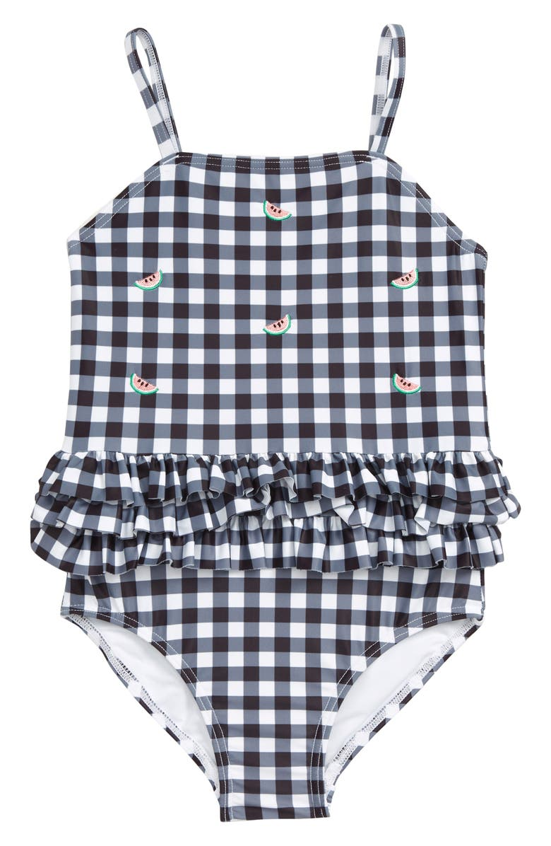 TUCKER + TATE Gingham Ruffle One-Piece Swimsuit, Main, color, BLACK WATERMELON GINGHAM