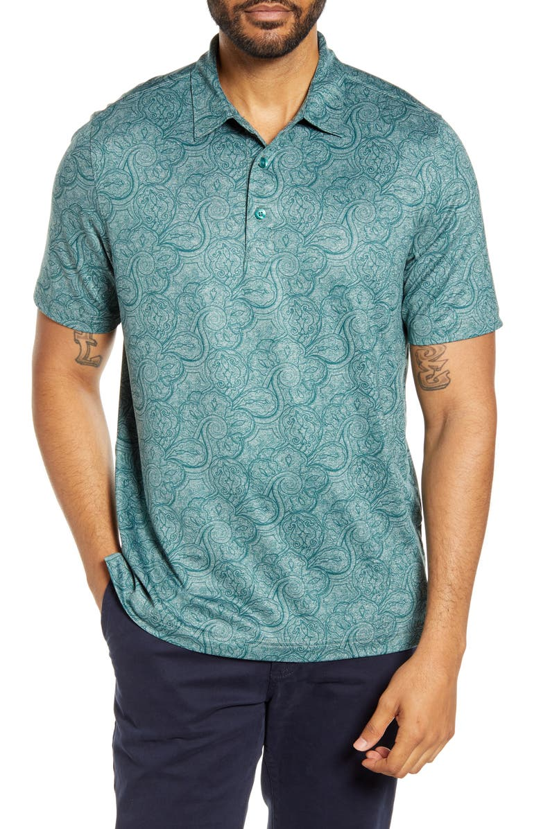 CUTTER & BUCK Forge Classic Fit Paisley Print Performance Polo, Main, color, SEAWEED HEATHER