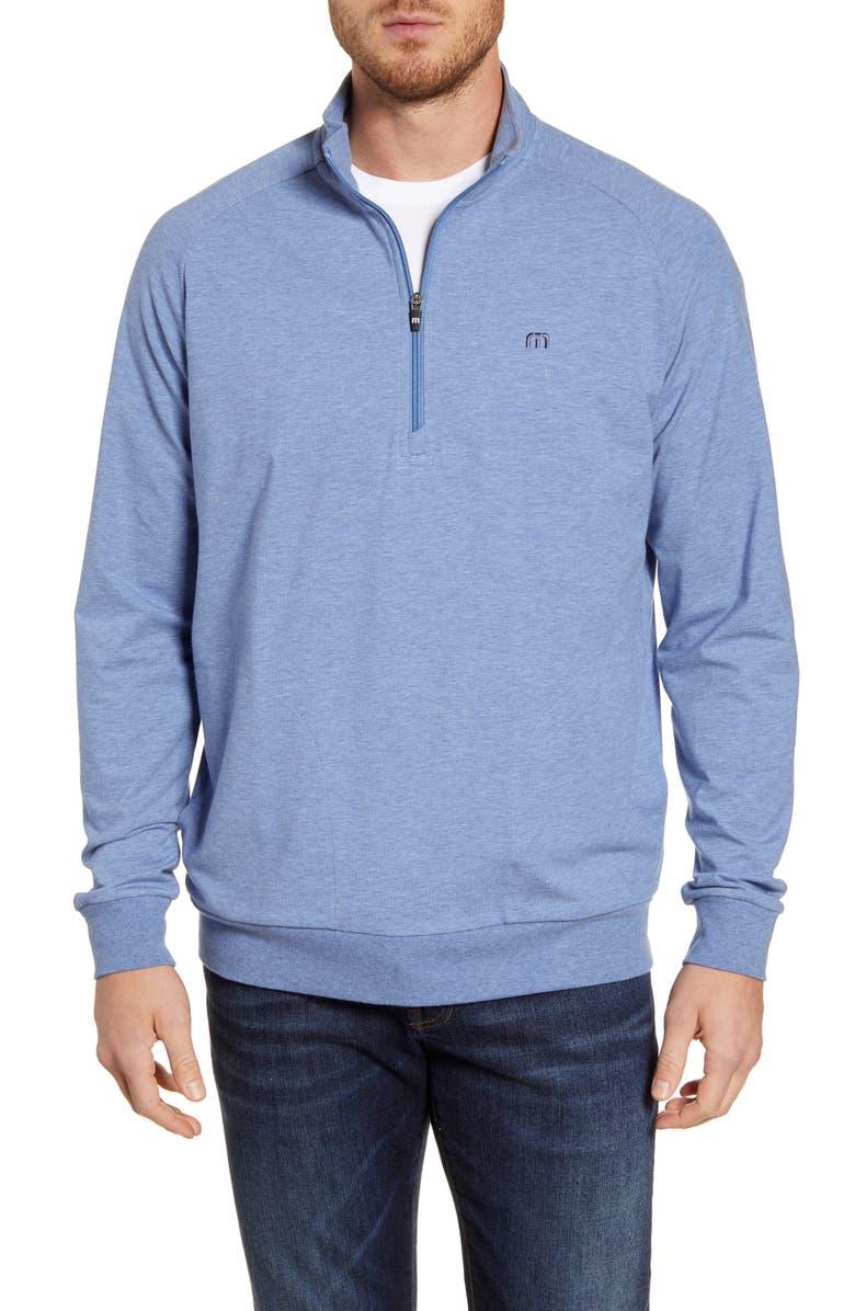 TRAVISMATHEW Zachary Half Zip Pullover, Main, color, HEATHER LIGHT BLUE