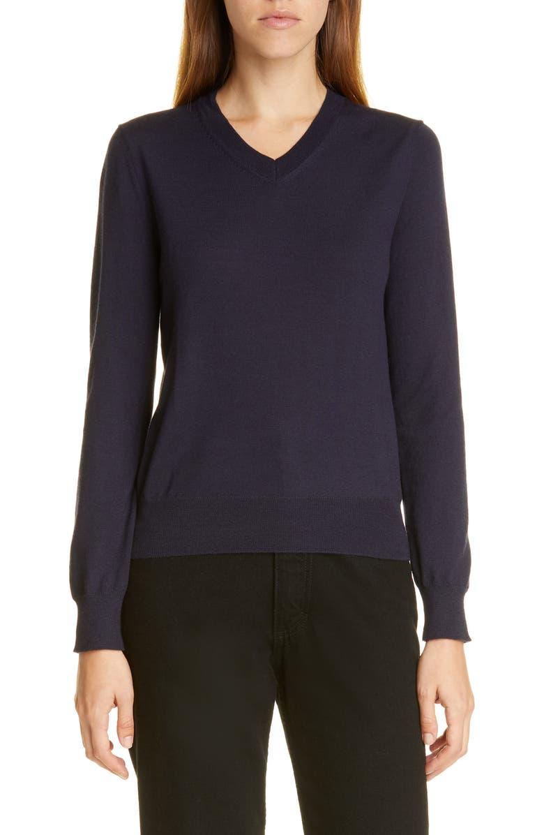 COMME DES GARÇONS V-Neck Cashmere Sweater, Main, color, NAVY