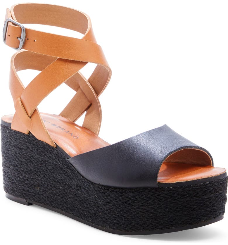 LUCKY BRAND Ginny Platform Sandal, Main, color, BLACK LEATHER