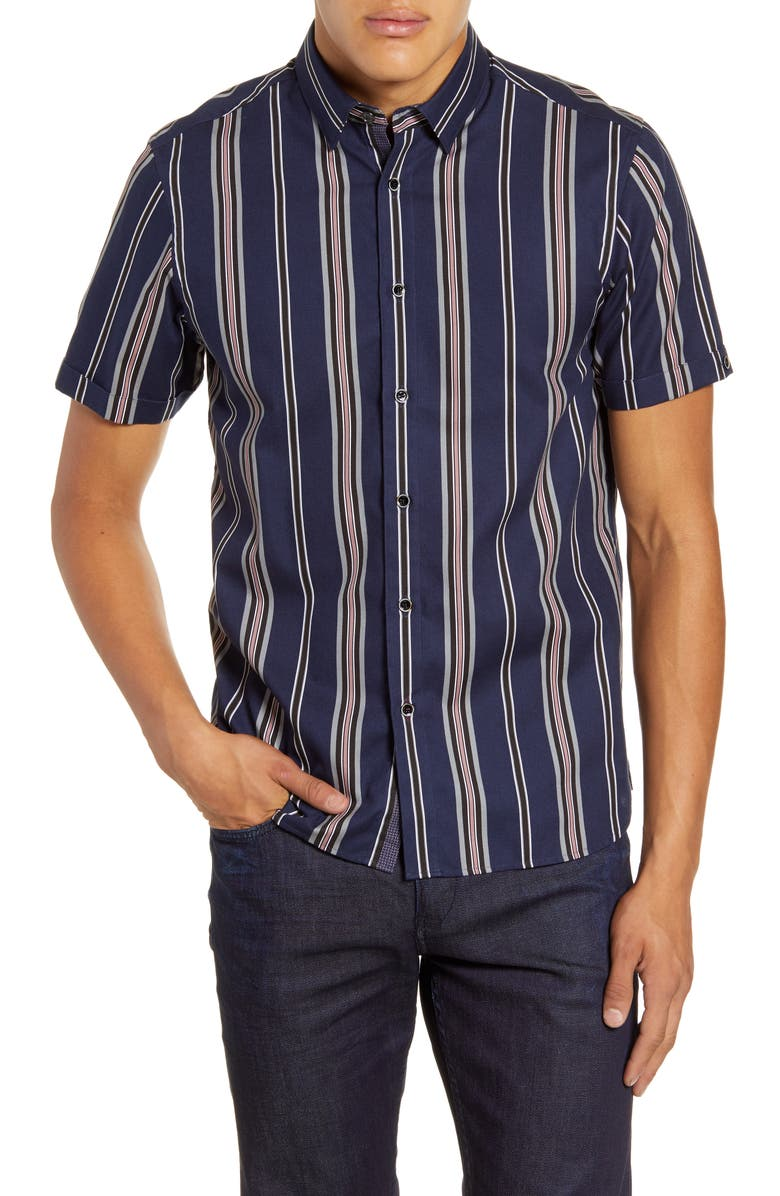 TED BAKER LONDON Doigt Slim Fit Short Sleeve Stripe Button-Up Shirt, Main, color, NAVY