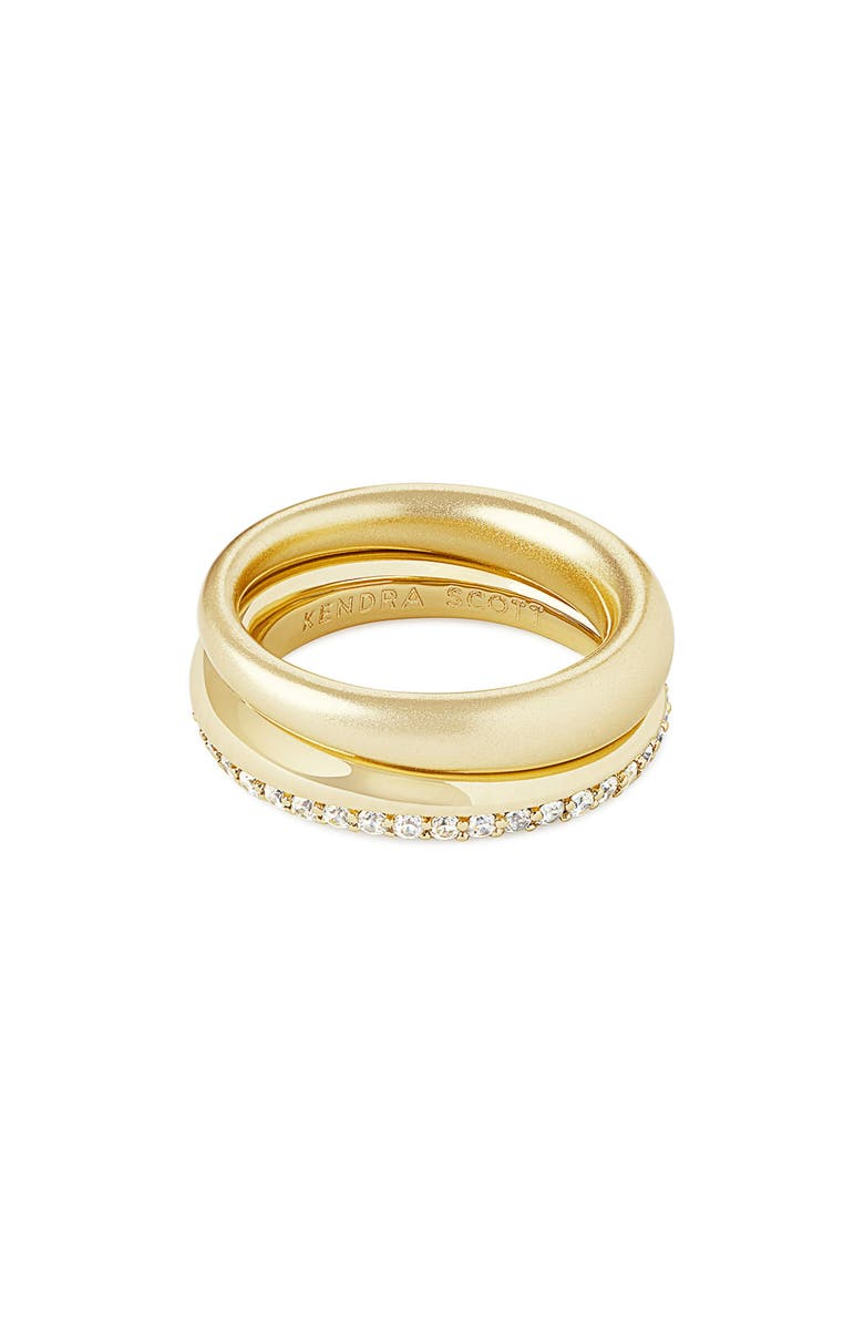 KENDRA SCOTT Colette Set of 2 Stackable Rings, Main, color, GOLD/ WHITE CZ