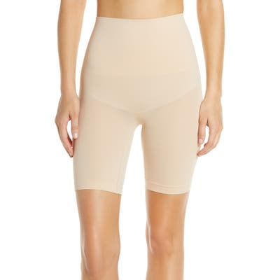 Yummie Cooling Fx High Waist Mid Thigh Shaping Shorts, Beige