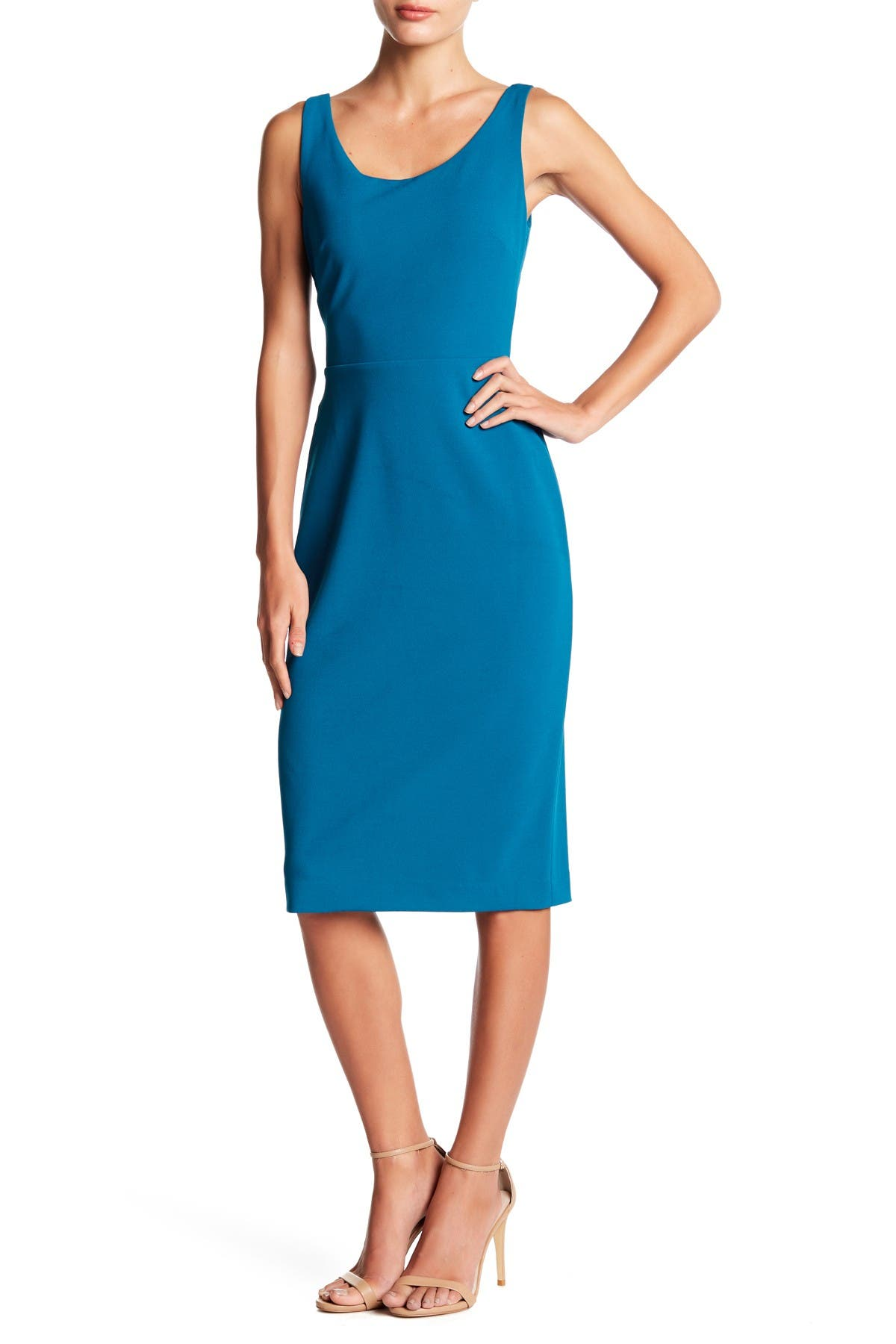 Image of Betsey Johnson Scoop Neck Sleeveless Crepe Midi Dress