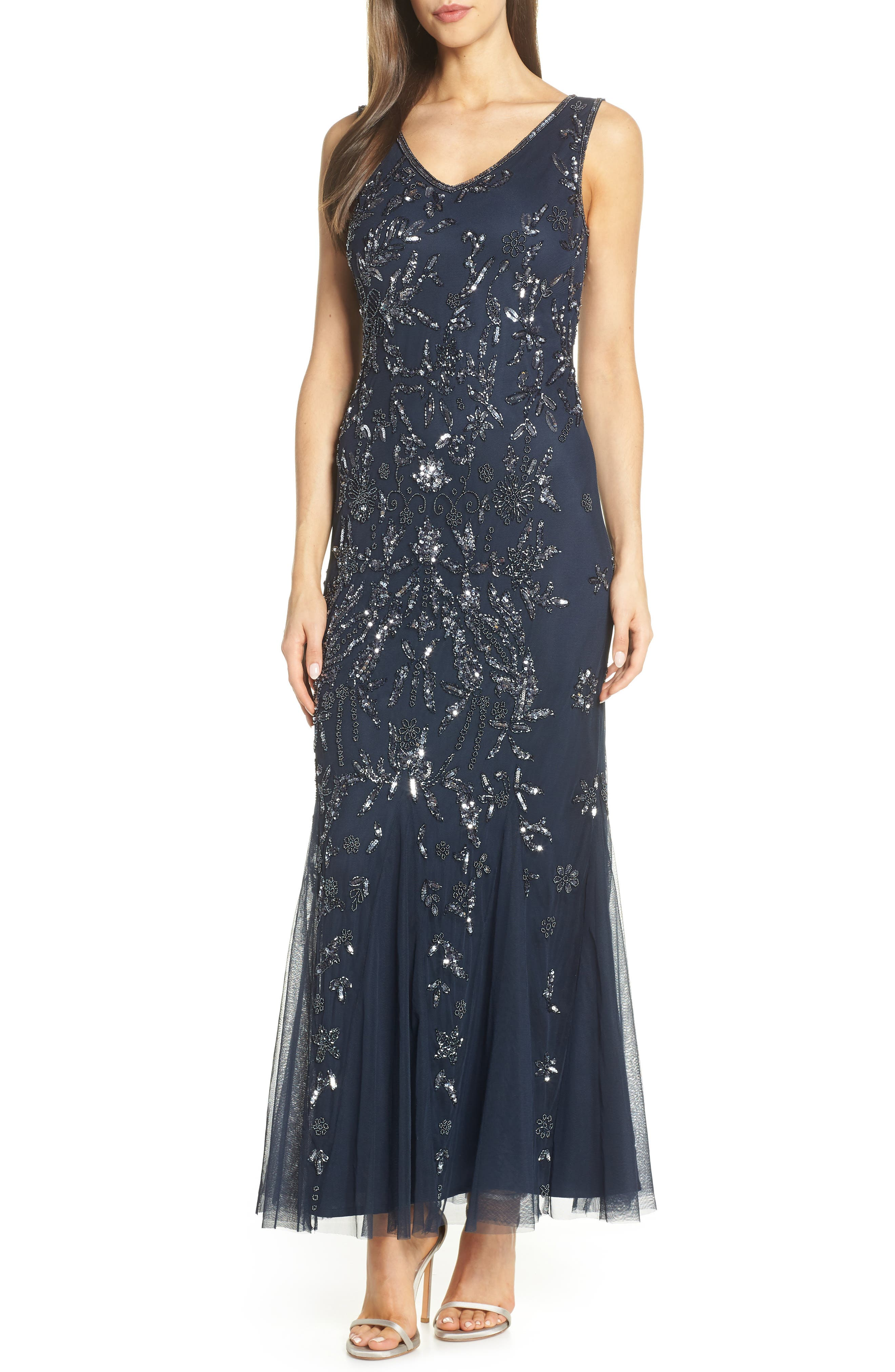 Pisarro Nights Embellished Mesh Gown, 8 (similar to 1) - Blue