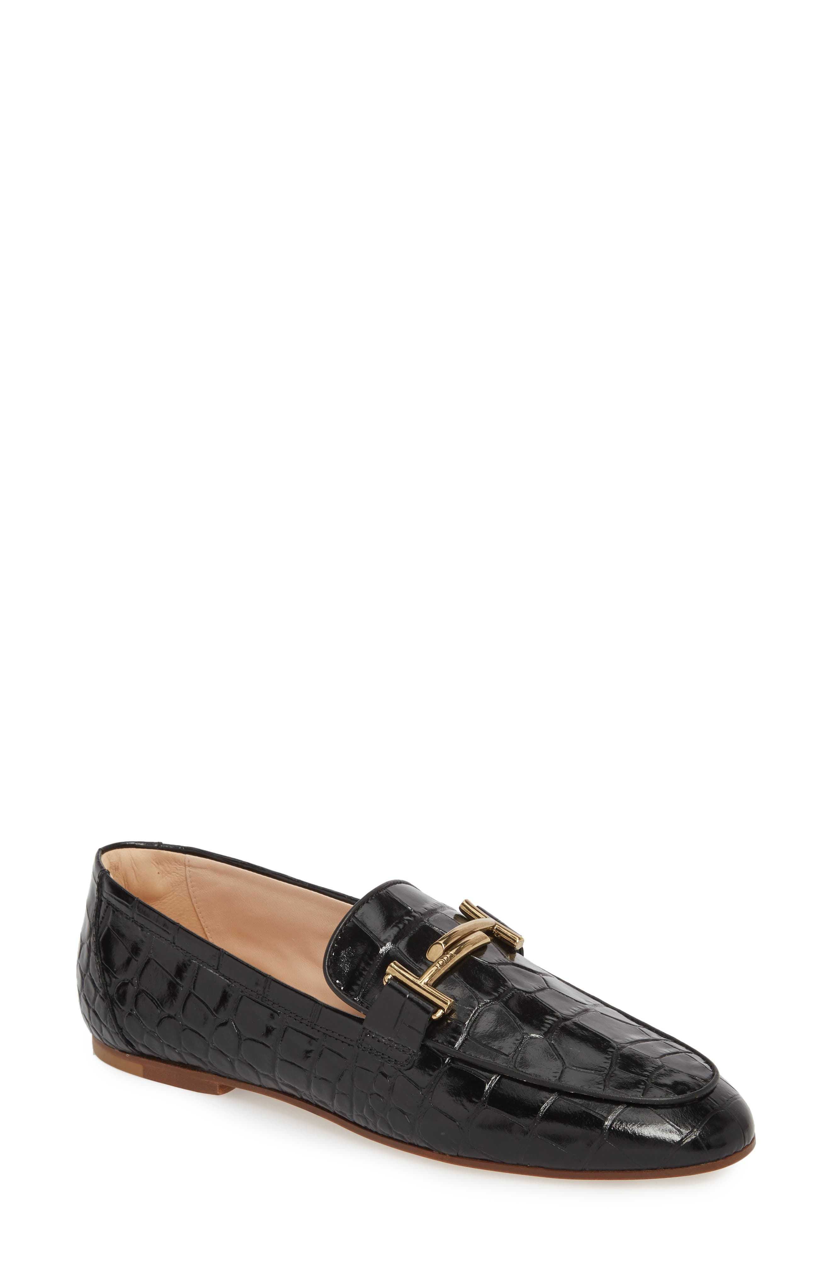 Double-T Printed Loafer, Main, color, BLACK