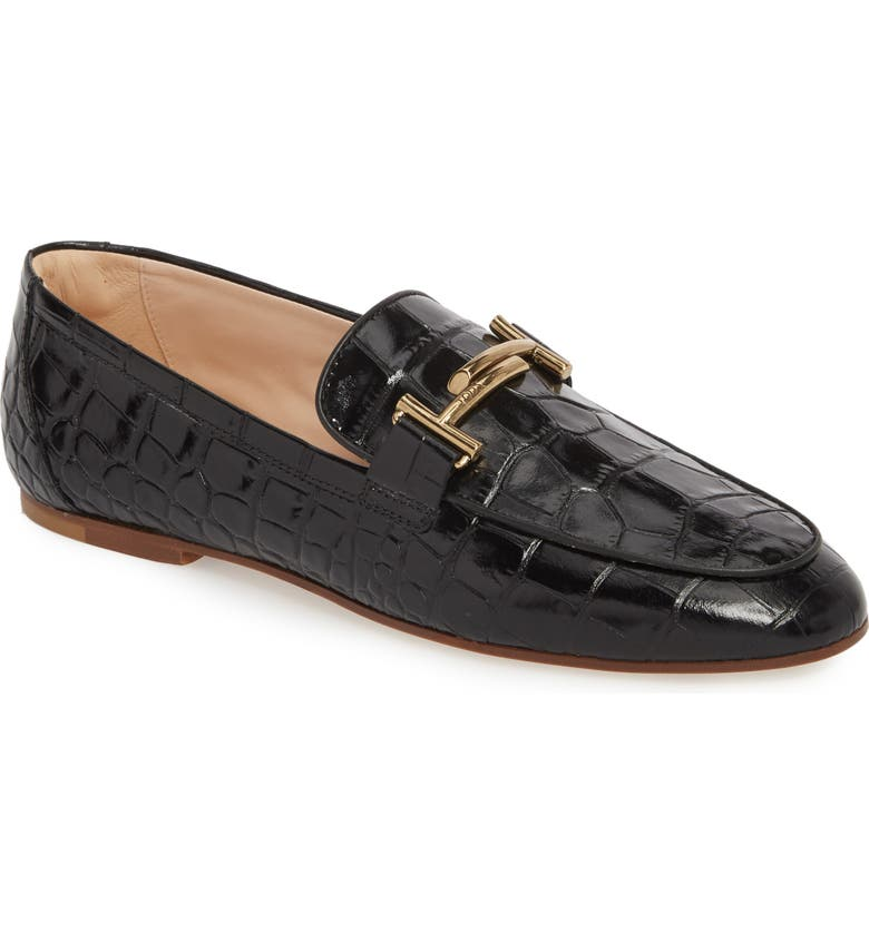 TOD'S Double-T Printed Loafer, Main, color, BLACK