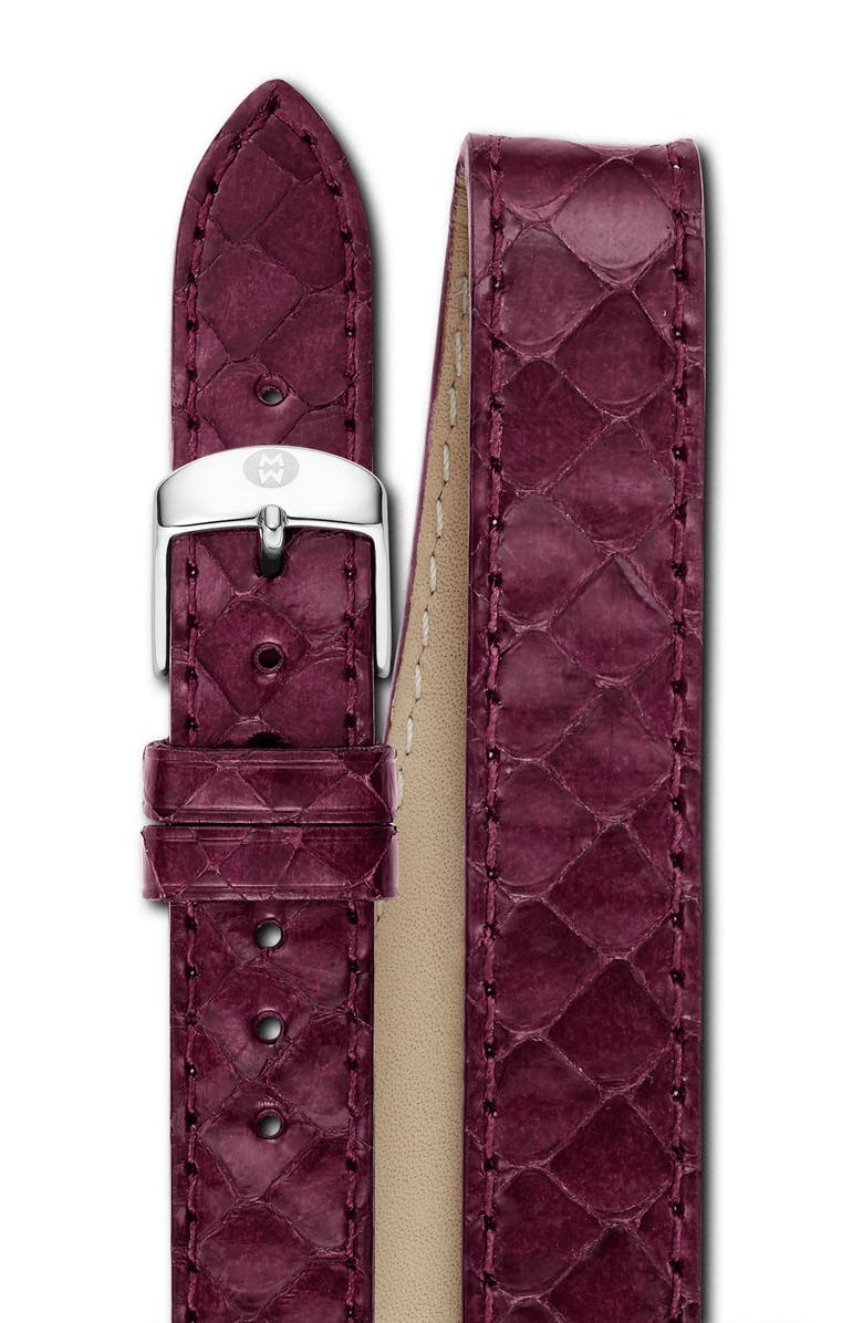 MICHELE 18mm Genuine Snakeskin Double Wrap Watch Strap, Main, color, PLUM