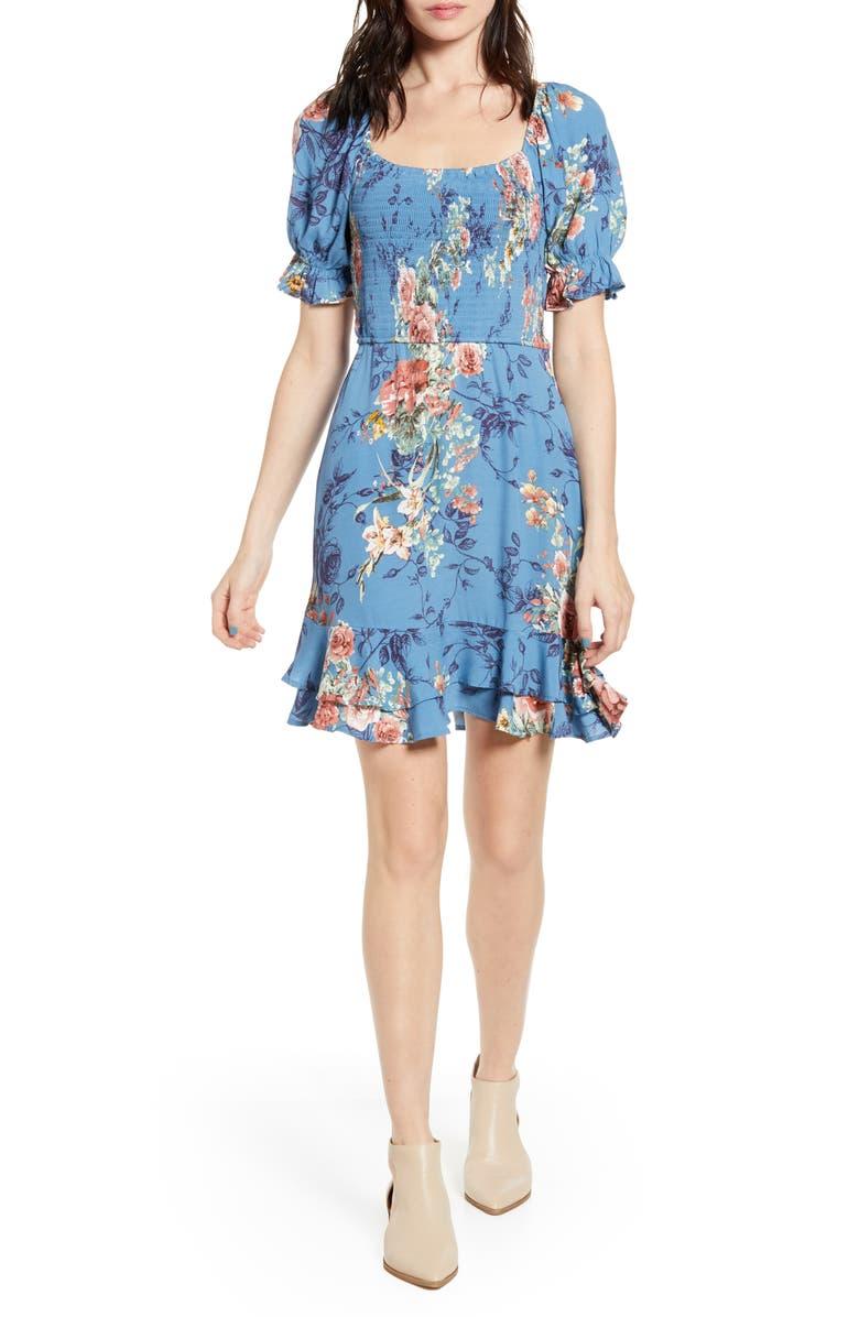 BAND OF GYPSIES Dreams Floral Minidress, Main, color, 400