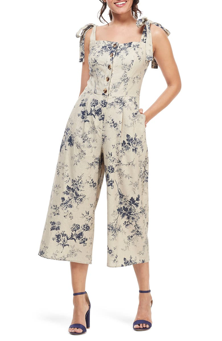Gal Meets Glam Collection Magnolia Smocked Back Linen Blend Jumpsuit