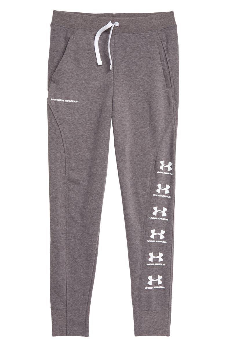 UNDER ARMOUR Rival ColdGear<sup>®</sup> Jogger Pants, Main, color, CHARCOAL LIGHT HEATHER/ WHITE