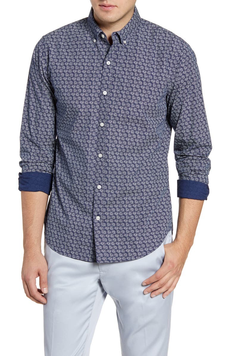 BONOBOS Summerweight Slim Fit Button-Down Shirt, Main, color, STAR GAZE - STARRY SKY