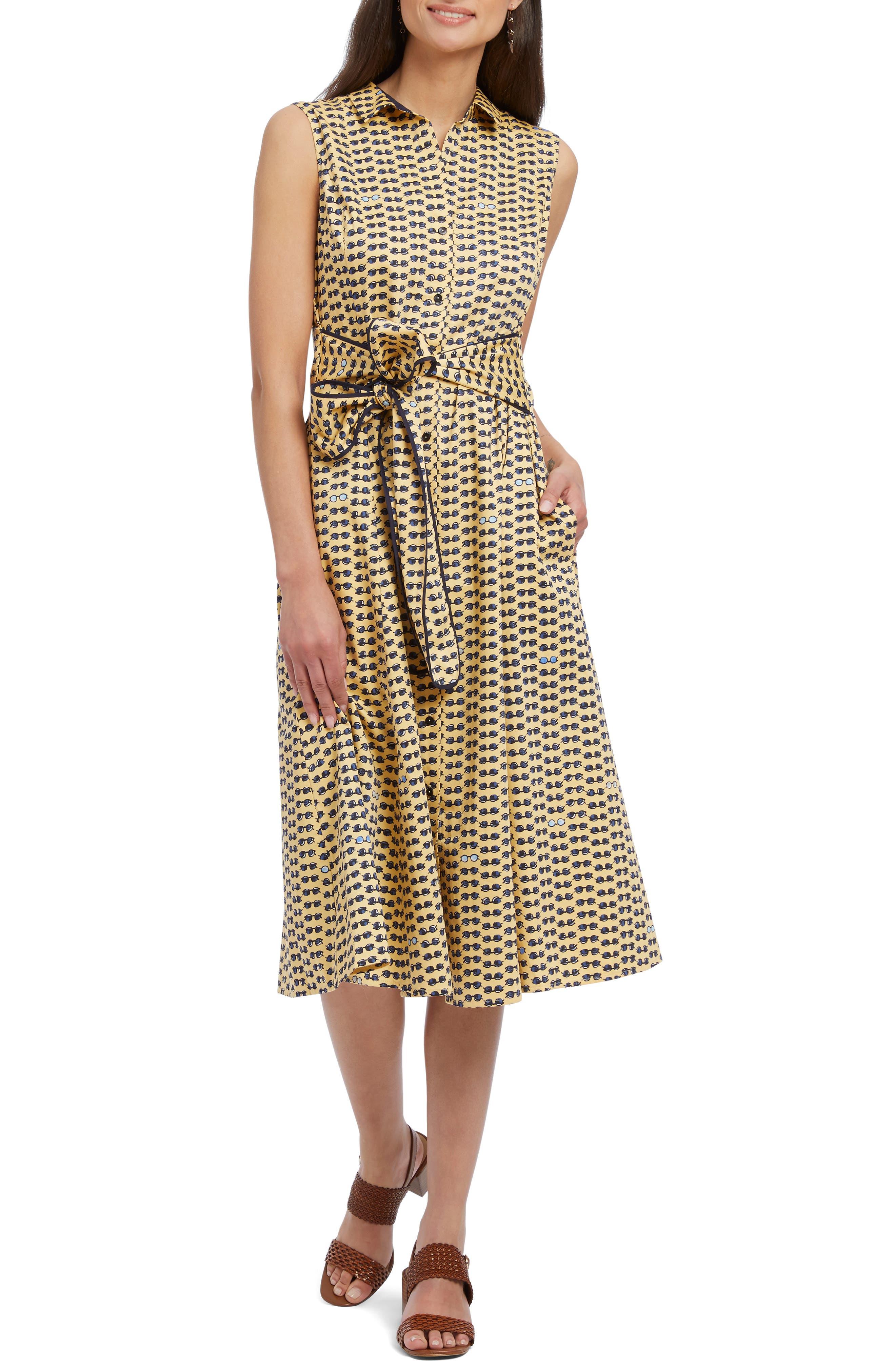 Petite Nic+Zoe Sunnies Sleeveless Tie Waist Shirtdress, Yellow
