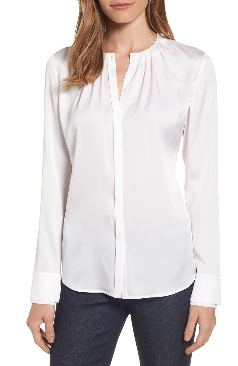 BOSS Banyra Stretch Silk Blouse, Main, color, 112
