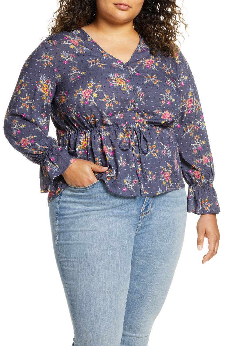 CASLON<SUP>®</SUP> Textured Print Top, Main, color, NAVY GAMINE FLORAL PRINT