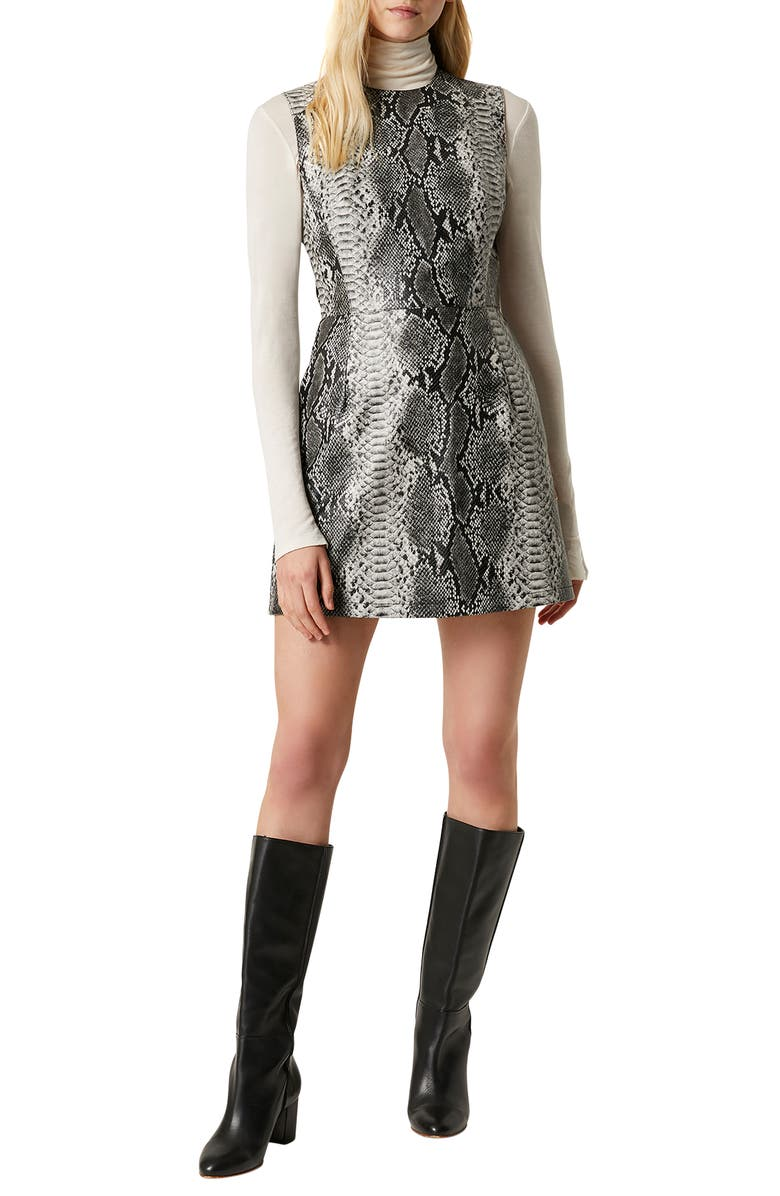 FRENCH CONNECTION Snake Print Sleeveless Minidress, Main, color, GREY MULTI