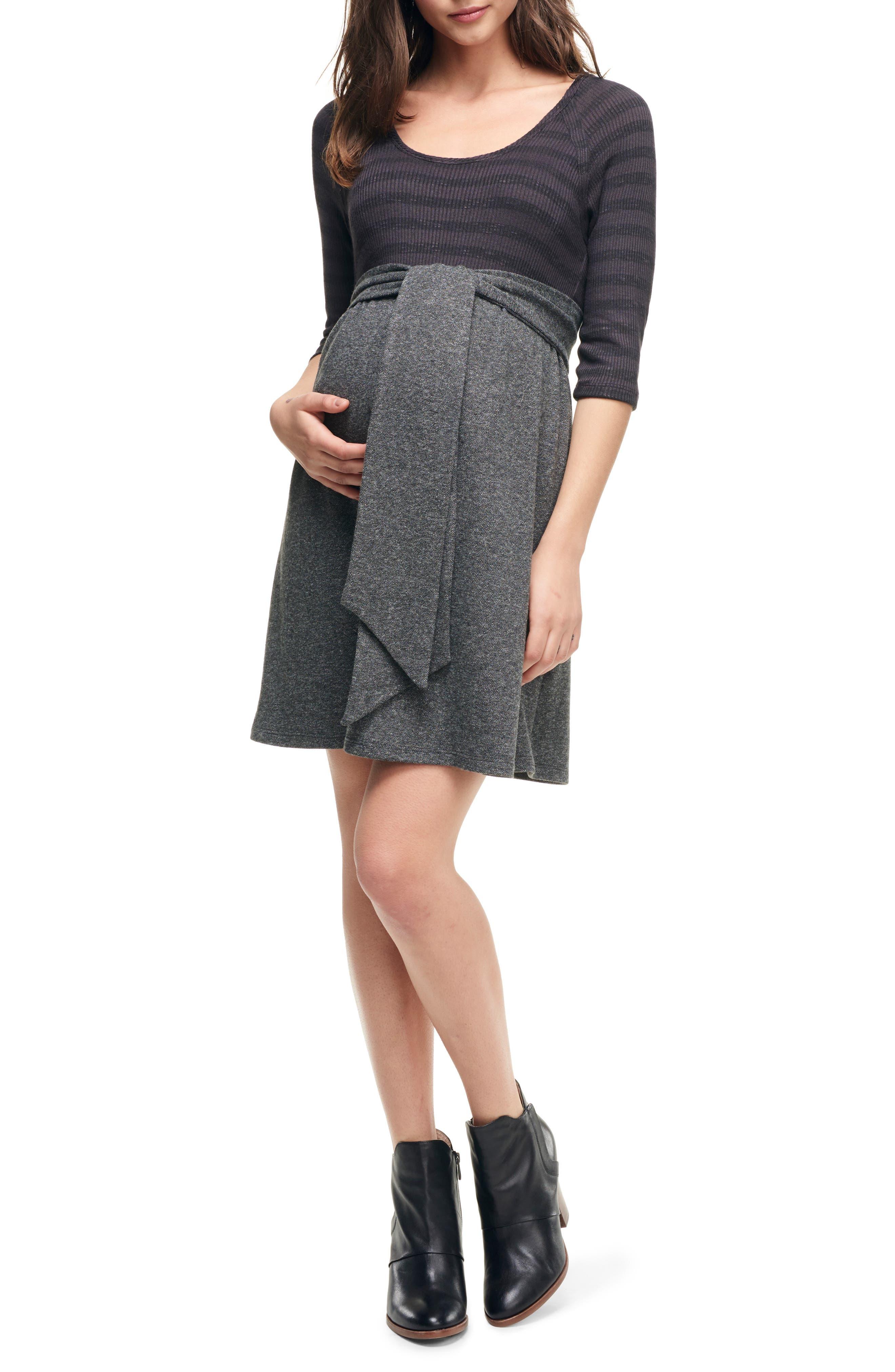 Maternal America Scoop Neck Maternity Dress, Black