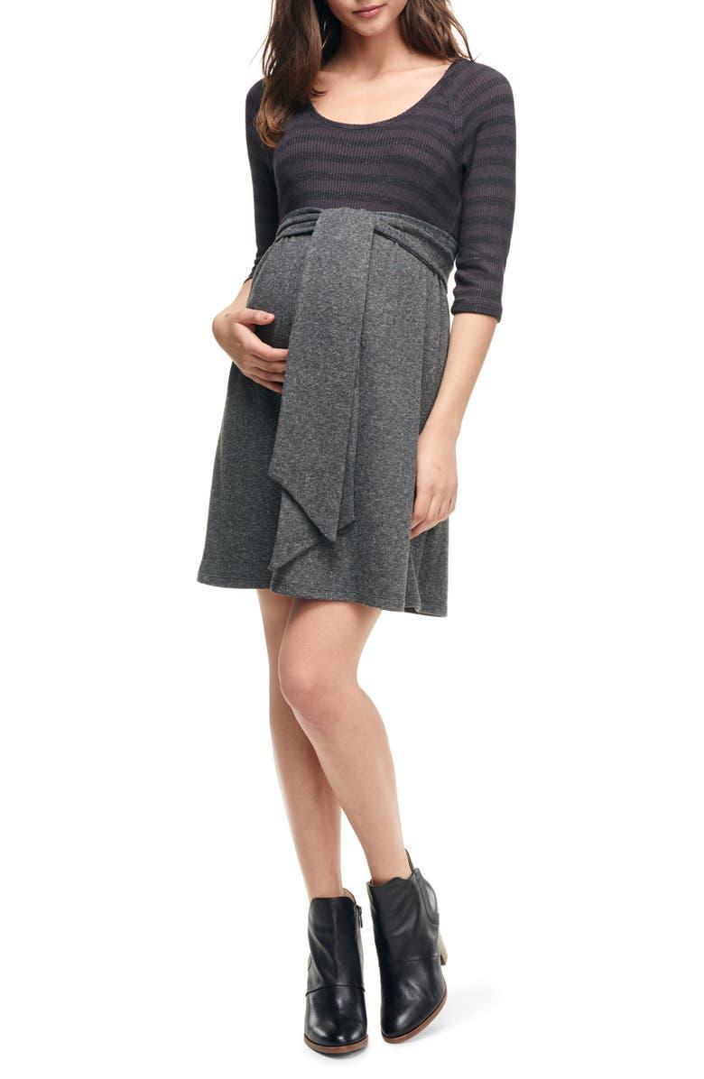 MATERNAL AMERICA Scoop Neck Maternity Dress, Main, color, BLACK STRIPE/ H. CHARCOAL